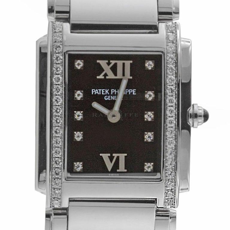 Patek Philippe 4910/10A-001 Twenty-4 4910 Black Diamond Dial Quartz Ladies Watch For Sale