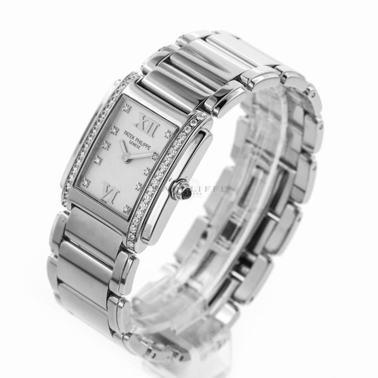 Contemporary Patek Philippe 4910/10A-011 Steel Twenty-4 Diamond 24 4910 Quartz Ladies Watch For Sale