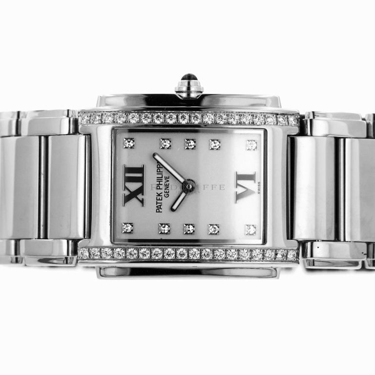 Patek Philippe 4910/10A-011 Steel Twenty-4 Diamond 24 4910 Quartz Ladies Watch In Excellent Condition For Sale In Miami, FL