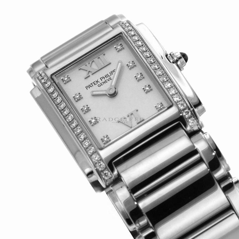 Patek Philippe 4910/10A-011 Steel Twenty-4 Diamond 24 4910 Quartz Ladies Watch For Sale 2