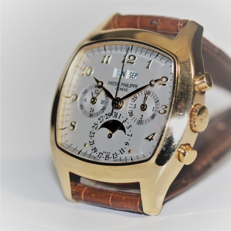 Patek Philippe 5020J Perpetual Calendar Chronograph Watch 'TV Screen' In Excellent Condition For Sale In Santa Monica, CA