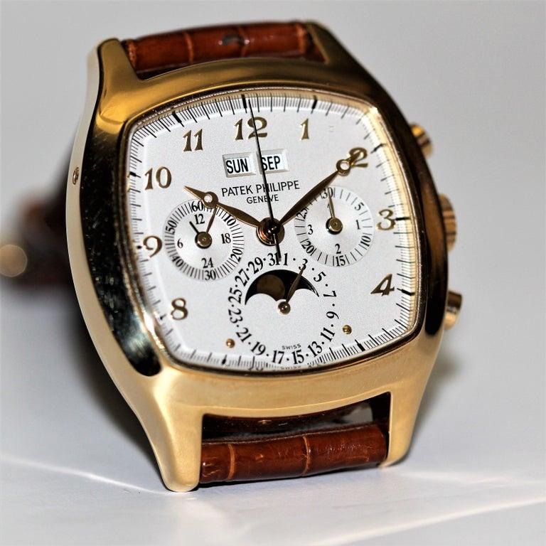 Women's or Men's Patek Philippe 5020J Perpetual Calendar Chronograph Watch 'TV Screen' For Sale