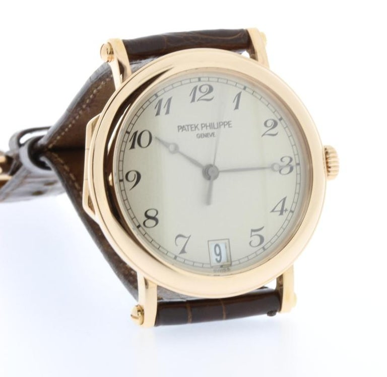 Women's or Men's Patek Philippe 5053R Automatic Officers Case Watch, circa 2006 For Sale