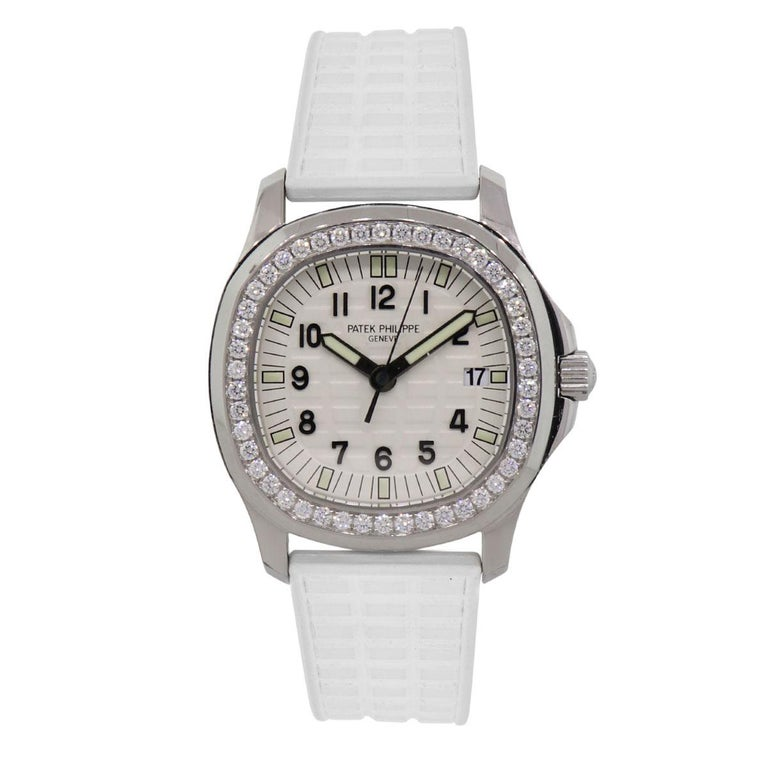 Brand: Patek Philippe MPN: 5067A-001 Model: Aquanaut Luce Case Material: Stainless steel Case Diameter: 35mm Bezel: Round brilliant diamond bezel Dial: White dial Bracelet: White rubber strap (factory) Crystal: Sapphire Size: Will fit up to a 6.50″