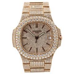 Patek Philippe 5719 Nautilus 18k Rose Gold All Diamond Pave Watch