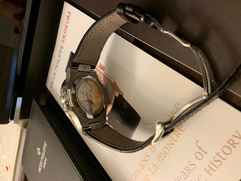 Men's Patek Philippe 5726 Nautilus Steel Annual Calendar Watch Black Dial Box / Papers For Sale