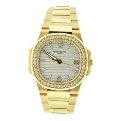 Patek Philippe 7010/1R-011 Nautilus Ladies Rose Gold Diamond Bezel Watch