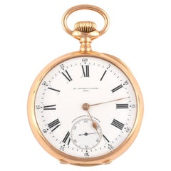 Patek Philippe, an 18 Karat Gold Keyless Wind Open Face Pocket Watch