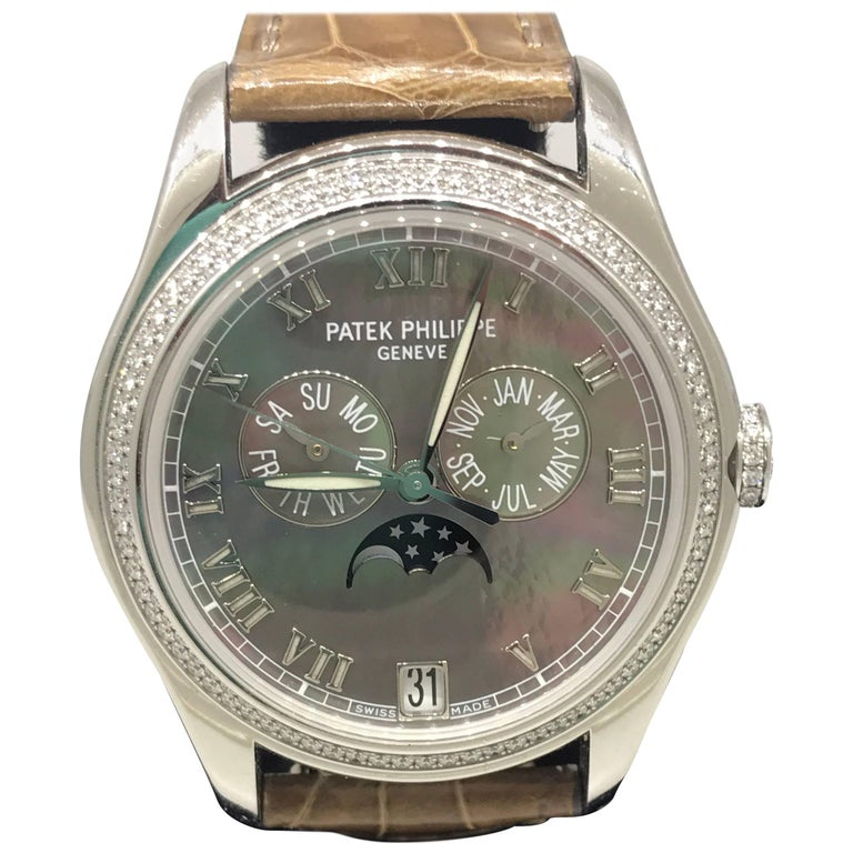 82697fe6a3f Patek Philippe Annual Calendar Automatic White Gold & Diamond Ladies Watch  4936G For Sale