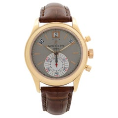 Patek Philippe Annual Calendar Chrono 18k Rose Gold Gray Dial Watch 5960R-001