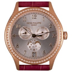 Patek Philippe Annual Calendar Ladies 18k Rose Gold Sunburst Dial Diamond Set
