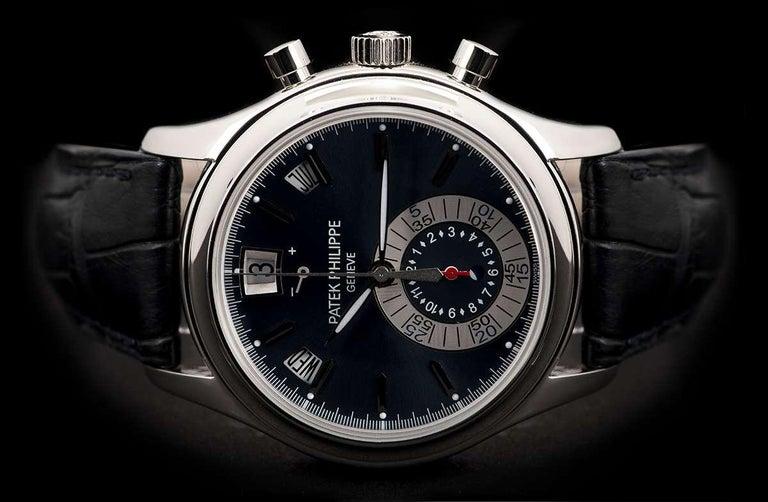 Men's Patek Philippe Annual Calendar Platinum Blue Dial 5960P-015 Automatic Wristwatch For Sale