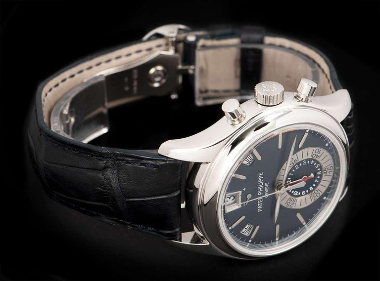 Patek Philippe Annual Calendar Platinum Blue Dial 5960P-015 Automatic Wristwatch For Sale 1