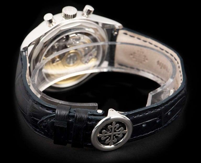 Patek Philippe Annual Calendar Platinum Blue Dial 5960P-015 Automatic Wristwatch For Sale 2