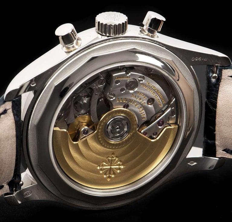 Patek Philippe Annual Calendar Platinum Blue Dial 5960P-015 Automatic Wristwatch For Sale 3