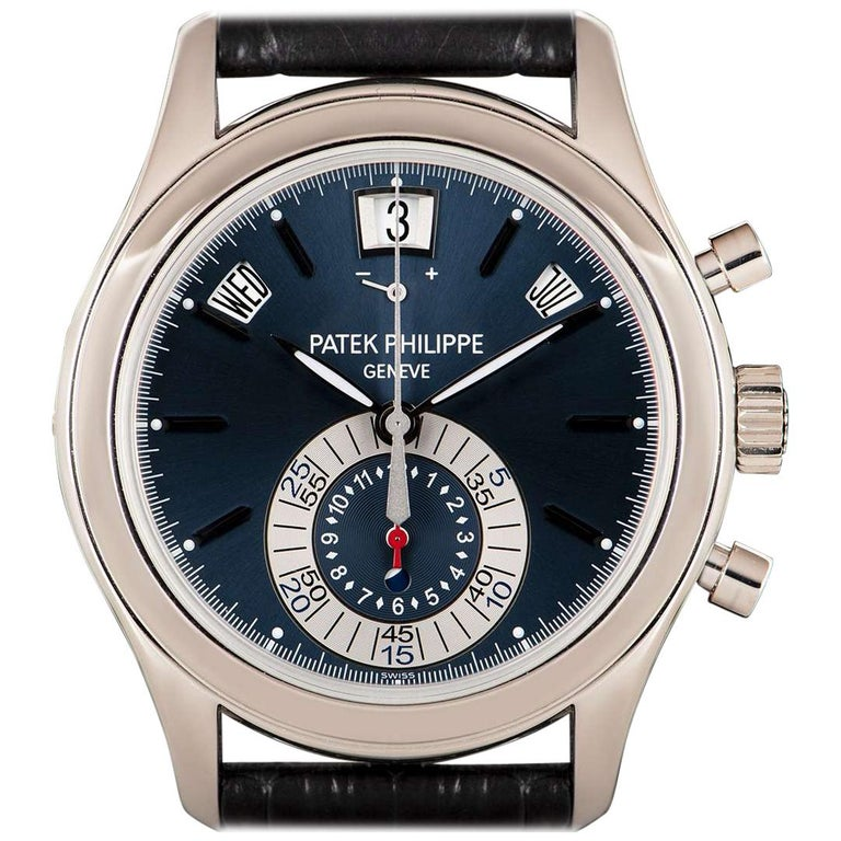 Patek Philippe Annual Calendar Platinum Blue Dial 5960P-015 Automatic Wristwatch For Sale