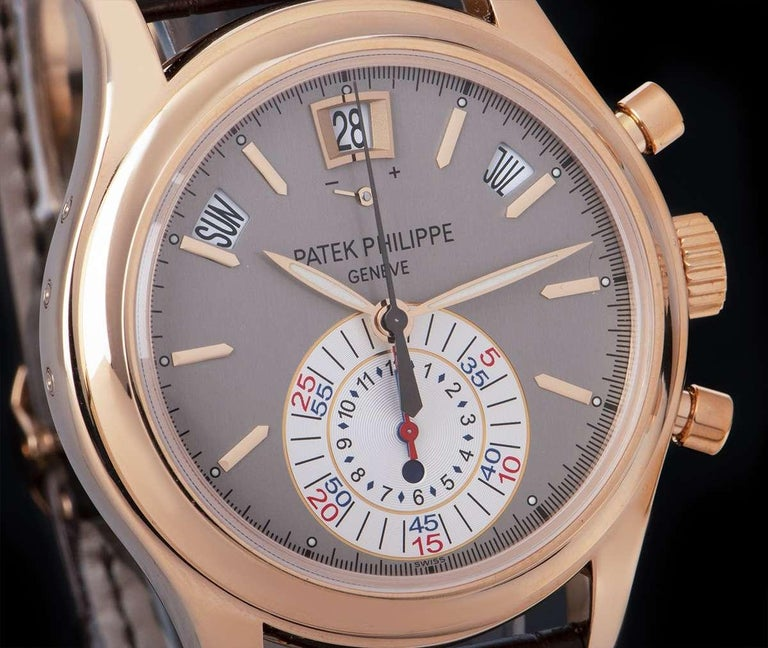 Patek Philippe Annual Calendar Rose Gold Grey Dial B&P 5960R-001 In Excellent Condition For Sale In London, GB