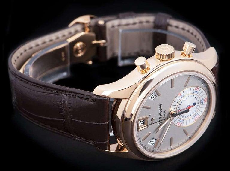 Men's Patek Philippe Annual Calendar Rose Gold Grey Dial B&P 5960R-001 For Sale