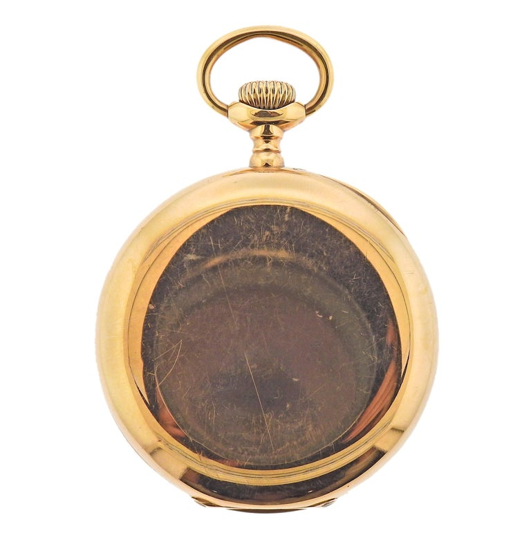Antique Patek Philippe 14k gold pocket watch. With porcelain dial , some scratches on crystal are present. Case is 47mm in diameter. Movement marked: Patek Philippe Geneve, No. 176894, Case marked - 281110, 0.585, PPC. Weight - 81.6 grams.
