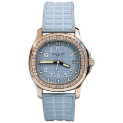 Patek Philippe Aquanaut Baby Blue Ladies Watch with 46 Diamonds