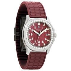 Patek Philippe Aquanaut Burgundy Ladies Watch with 46 Diamonds