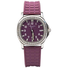 Patek Philippe Aquanaut Purple Ladies Watch with 46 Factory Diamonds