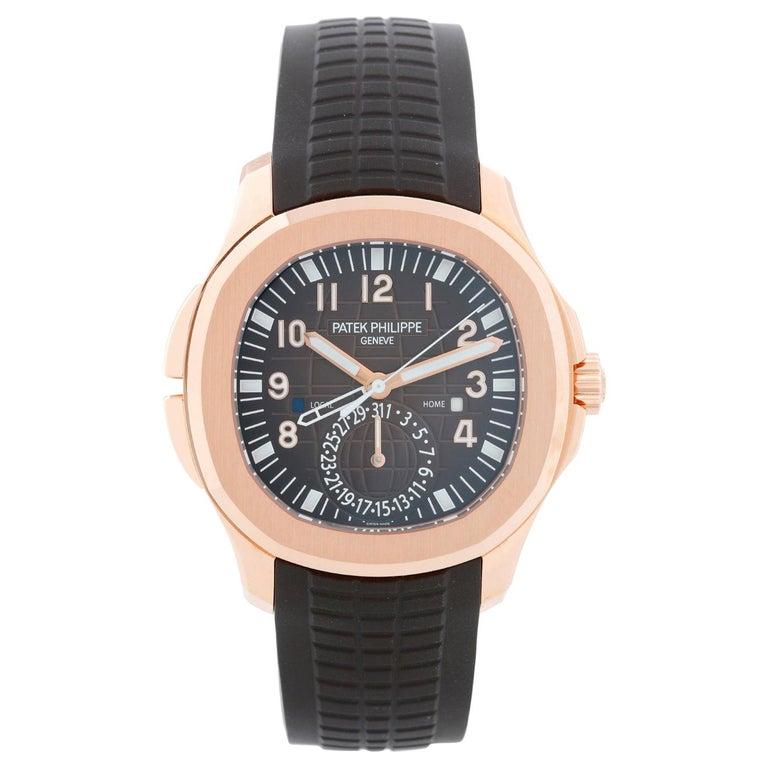 Patek Philippe Aquanaut Travel Time 18 Karat Rose Gold Men's 5164R '5164 R' For Sale
