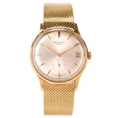 Patek Philippe Automatic 18k Gold Unisex Mesh Watch Ref. 2596