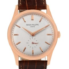 Patek Philippe Calatrava 18 Karat Rose Gold Opaline Dial Men's Watch 5196R