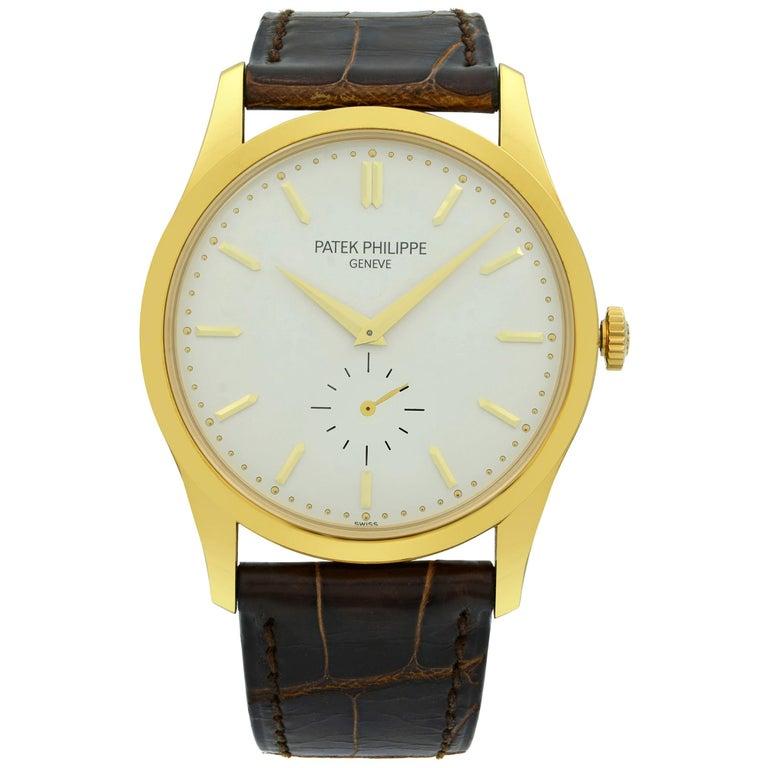 Patek Philippe Calatrava 18K Gold Silver Dial Hand-Wind Men's Watch 5196J-001 For Sale