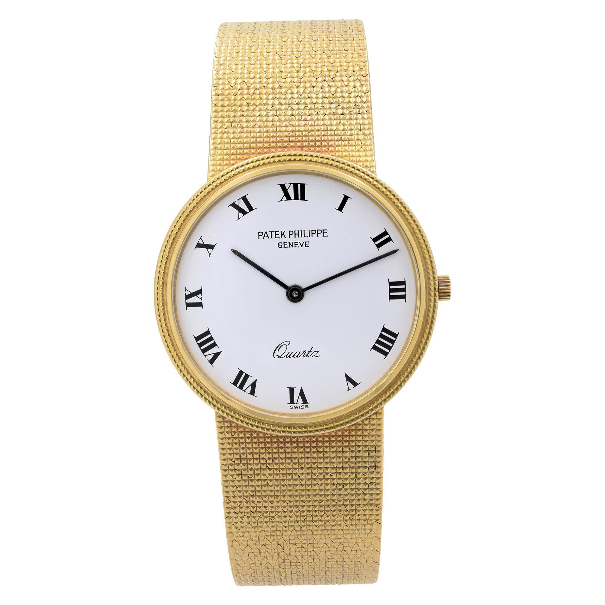 Patek Philippe Calatrava 18k Gold White Dial Quartz Mens Watch 3744-1