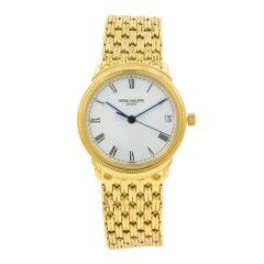 Patek Philippe Calatrava 18K Gold White Porcelain Dial Automatic Watch 3802/220