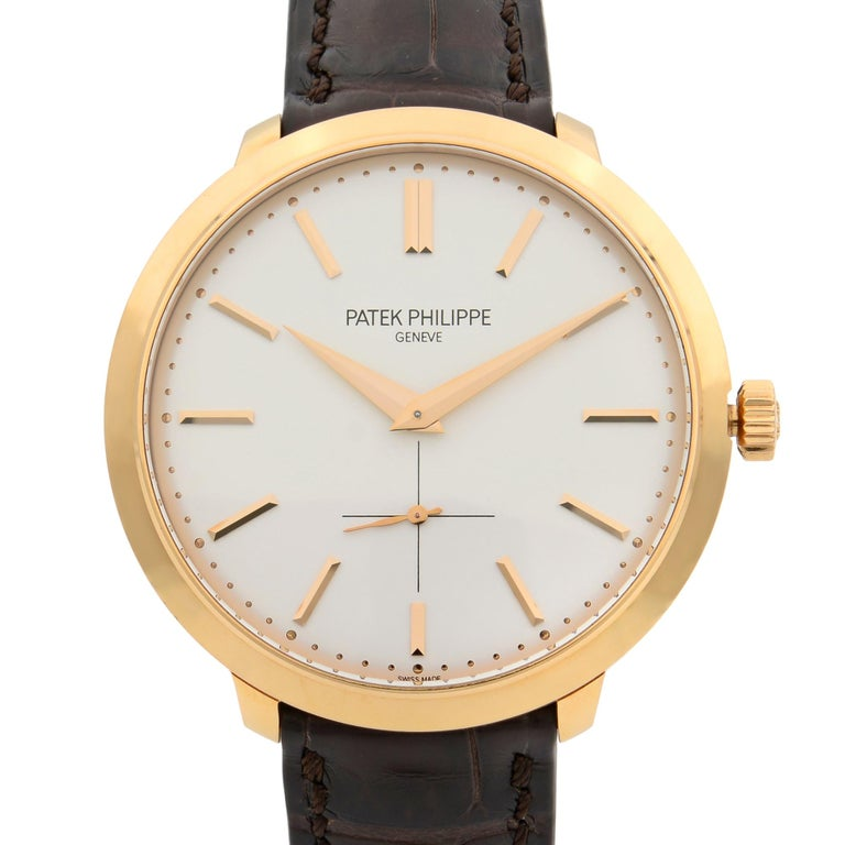 This pre-owned Patek Philippe Calatrava  5123R-001 is a beautiful men's timepiece that is powered by mechanical (hand-winding) movement which is cased in a rose gold case. It has a round shape face, small seconds subdial dial and has hand sticks