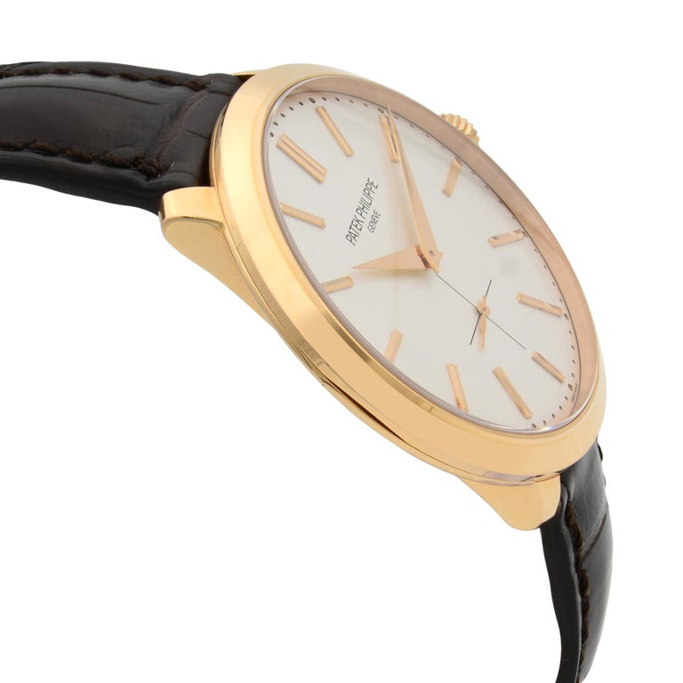 Patek Philippe Calatrava 18k Rose Gold Silver Dial Hand Wind Men Watch 5123R-001 In Excellent Condition For Sale In New York, NY