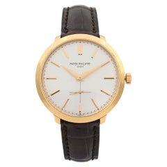 Patek Philippe Calatrava 18k Rose Gold Silver Dial Hand Wind Men Watch 5123R-001