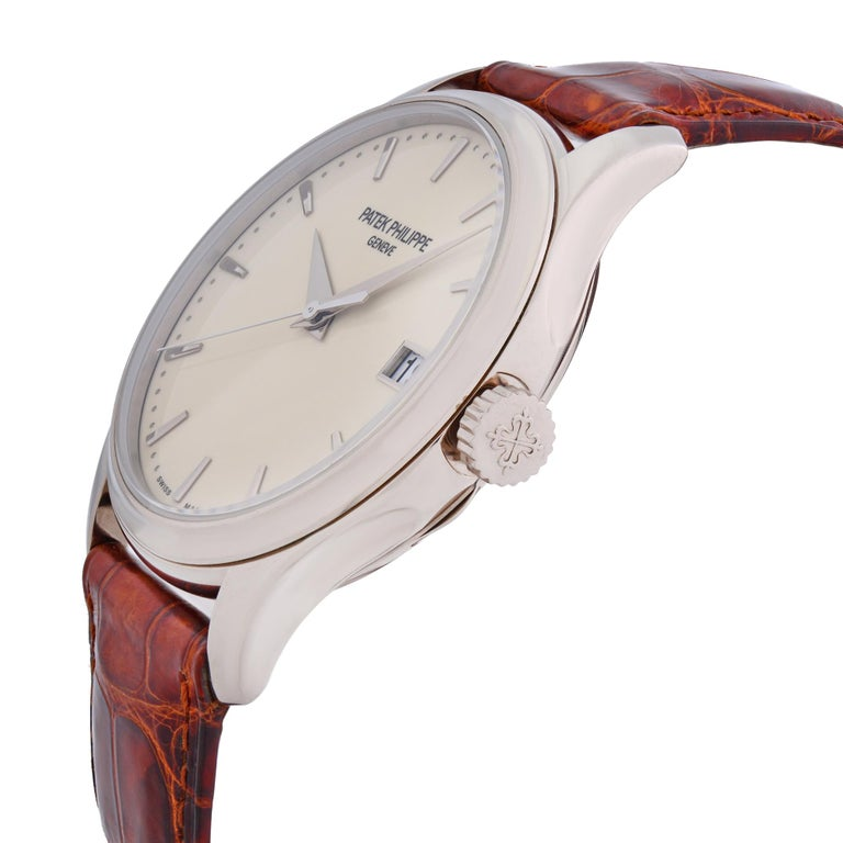 Patek Philippe Calatrava 18K White Gold Beige Dial Automatic Men Watch 5227G-001 In Good Condition For Sale In New York, NY