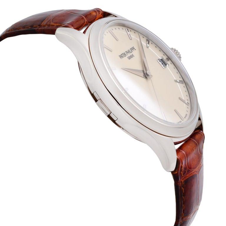 Men's Patek Philippe Calatrava 18K White Gold Beige Dial Automatic Men Watch 5227G-001 For Sale