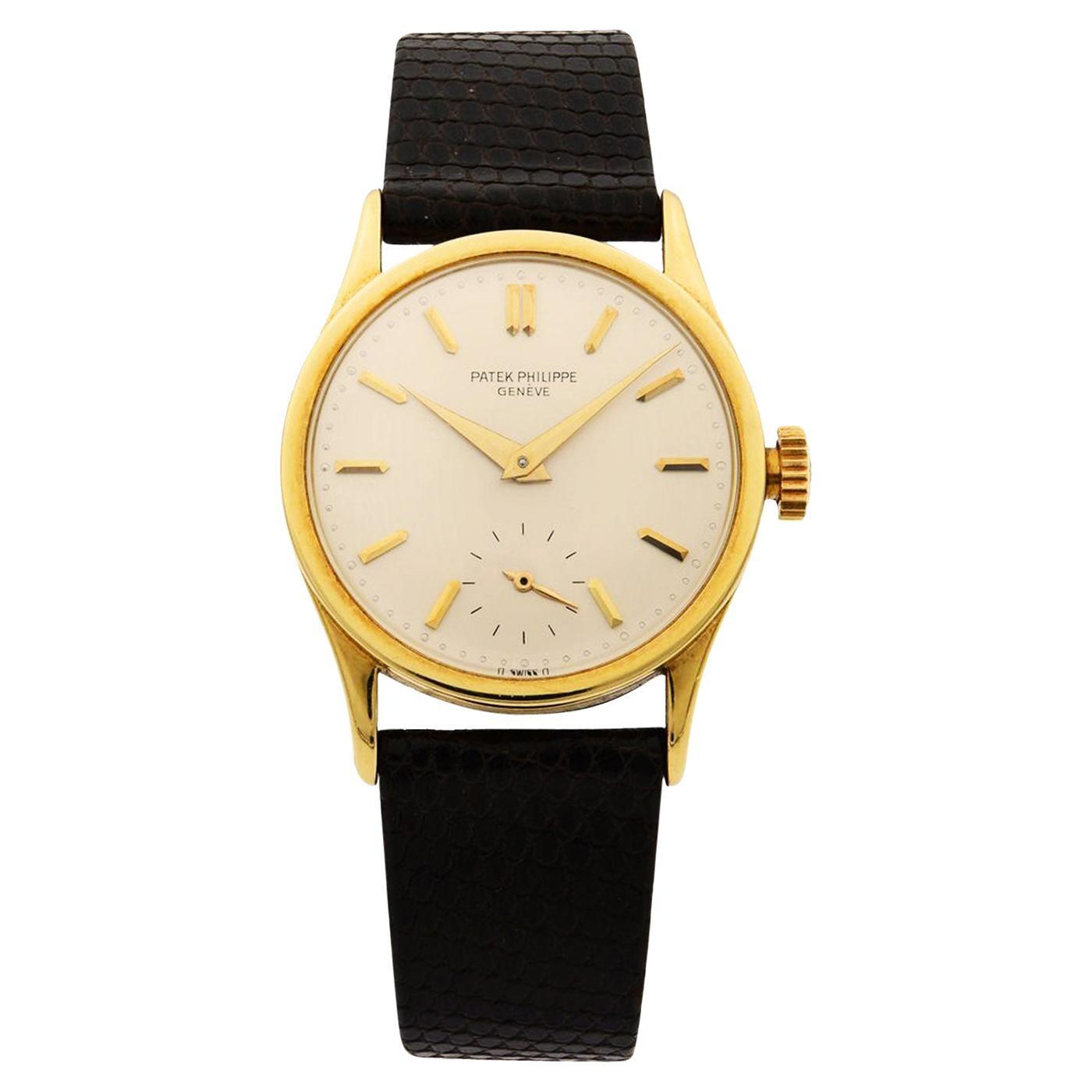Patek Philippe Calatrava 18K Yellow Gold Manual Wind Men's Vintage Watch 3796J