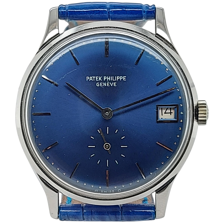 Patek Philippe Calatrava 3514 Wristwatch, Automatic, White Gold Case, Blue Dial
