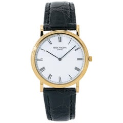Patek Philippe Calatrava 3520 Manual Vintage 18 Karat Gold Leather White Dial