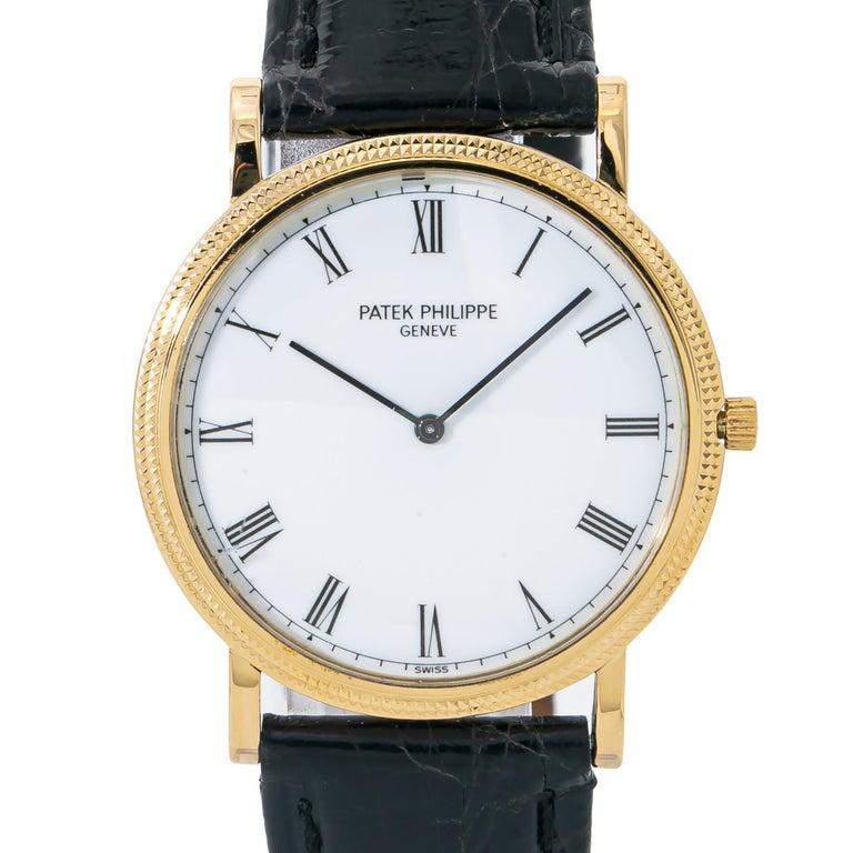 Men's Patek Philippe Calatrava 3520 Manual Vintage 18 Karat Gold Leather White Dial For Sale