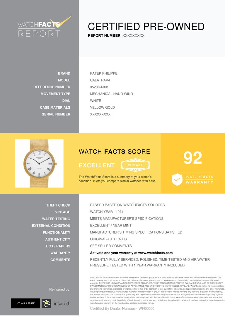 Patek Philippe Calatrava Reference #: 3520DJ-001. Mens Mechanical Hand Wind Watch Yellow Gold White 32 MM. Verified and Certified by WatchFacts. 1 year warranty offered by WatchFacts.