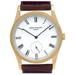 Patek Philippe Calatrava 3796 18 Karat Yellow Gold White Dial Manual Watch