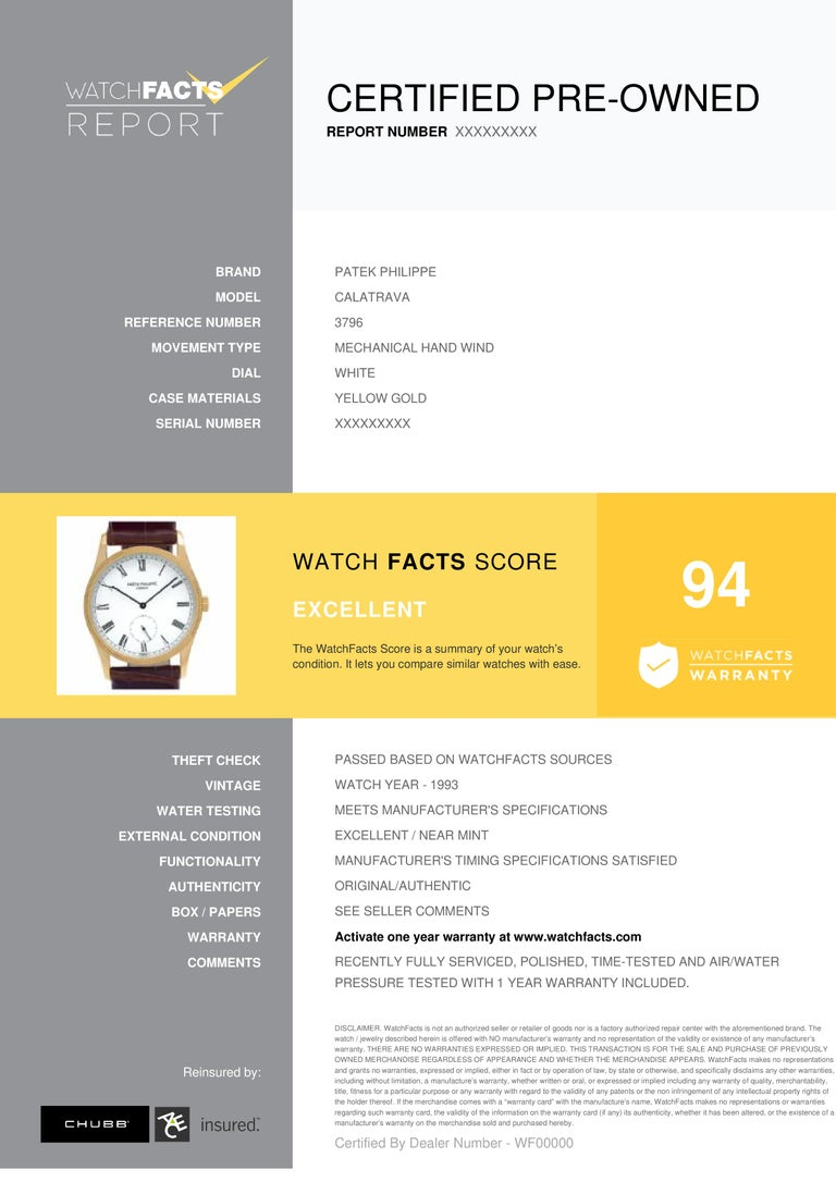 Patek Philippe Calatrava Reference #: 3796. Mens Mechanical Hand Wind Watch Yellow Gold White 30 MM. Verified and Certified by WatchFacts. 1 year warranty offered by WatchFacts.
