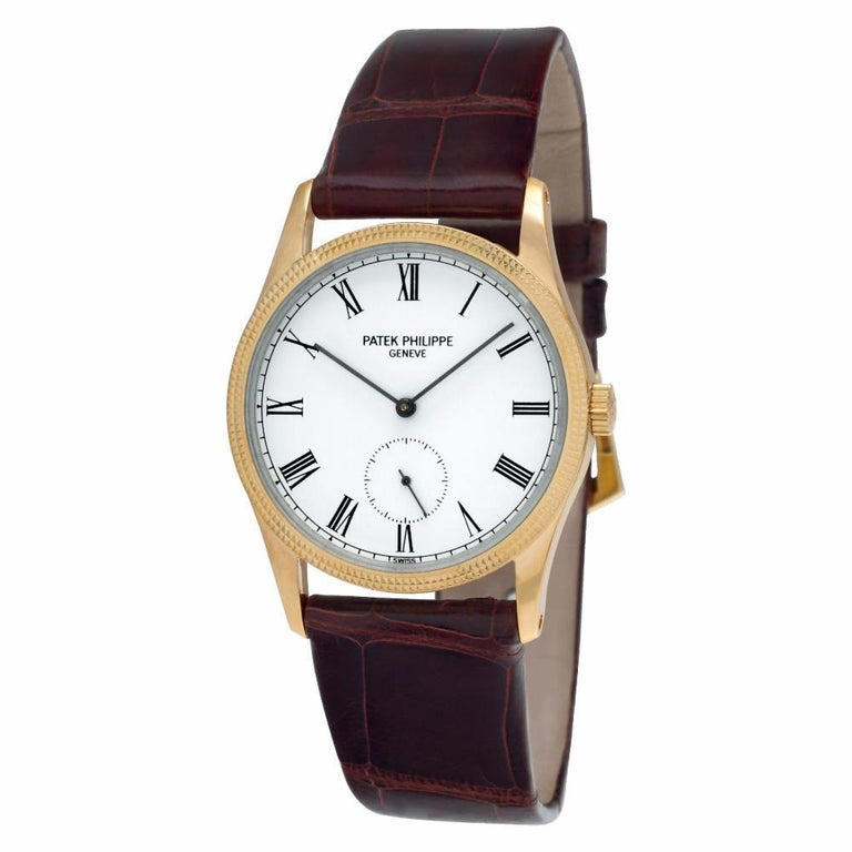 Contemporary Patek Philippe Calatrava 3796, White Dial, Certified and Warranty For Sale