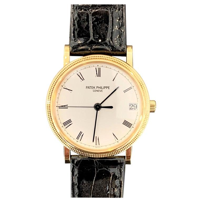 Patek Philippe Calatrava 3802, 18 Karat Gold, White Dial For Sale