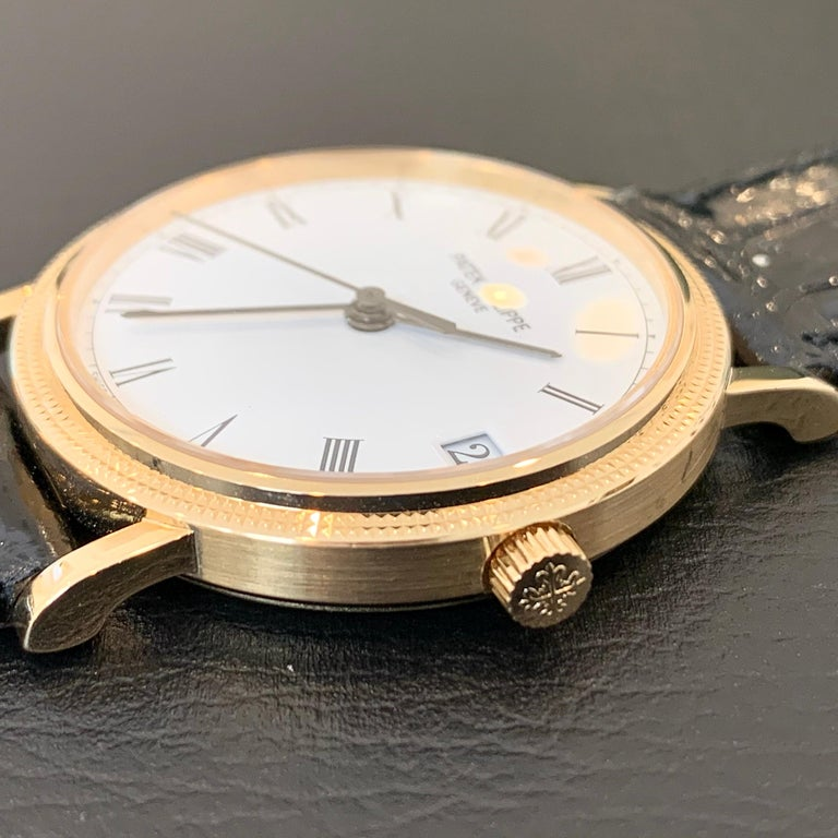 Women's or Men's Patek Philippe Calatrava 3802, 18 Karat Gold, White Dial For Sale