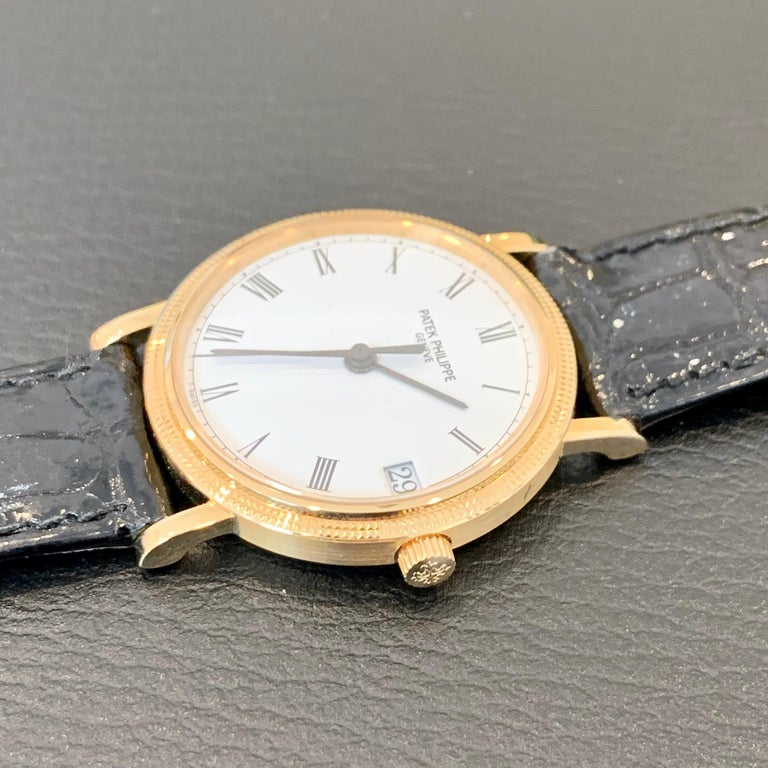 Patek Philippe Calatrava 3802, 18 Karat Gold, White Dial For Sale 5