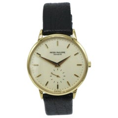 Patek Philippe Calatrava 3893J 18 Karat Yellow Gold Leather Strap