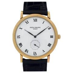 Patek Philippe Calatrava 3919 18 Karat Yellow Gold White Dial Manual Watch